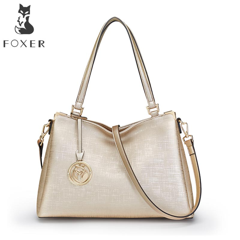 FOXER New Women Leather Shoulder Bag Ladies Handbag Luxury Crossbody Bags for Female Lady Messenger High Quality Shoulder Bag spring new elegant leather women handbag smooth skin lady shoulder bags female small casual totes cover zipper crossbody packs