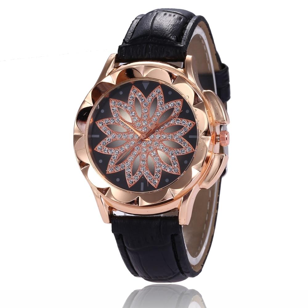 Popular Luxury Brand Women Watch Crystal Flower Casual Dress