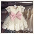 New 2016 white/ivory knee length beading lace flower girl dresses with bow first communion tulle ball gowns for little girls