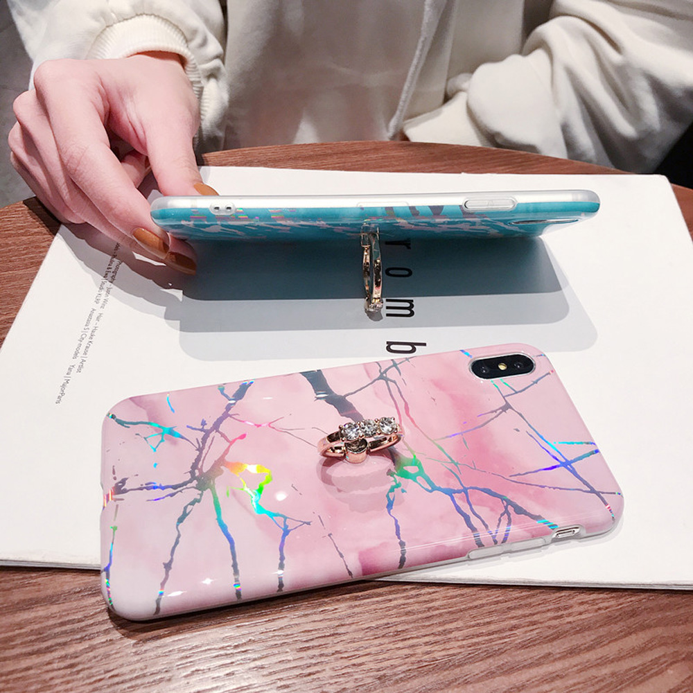 Image 3 - Heyytle Laser Marble Case For iPhone 7 8 Plus 6 6s Ring Holder Cases For iPhone X XS MAX XR Soft TPU Cover Colorful Stand Coque-in Fitted Cases from Cellphones & Telecommunications