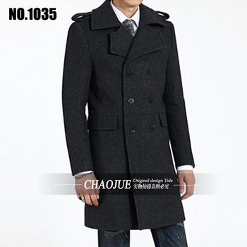 Autumn Winter Men's Fashion Slim Medium-long Woolen Coat New Design Men Thicken Outwear Plus size Jacket  ! S-5XL free shipping