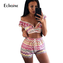 Colorful Wave Printed Casual Two Piece Outfits Women Deep V Neck Short Sleeve Crop Top And Summer Boho Short 2 Two Pieces Sets