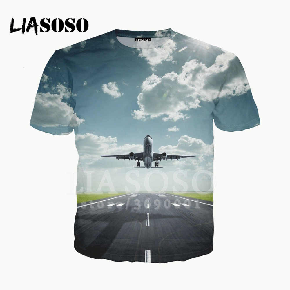 LIASOSO 3D Print Women Men Design Plain Aircraft airplane Military exercises Tshirt Summer T-shirt Hip Hop Pullover O-neck X1538