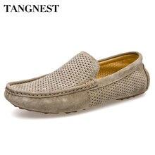 Tangnest Новый вырез Мужчины Мокасины Случайный Дышащий Летняя Обувь Chic Натуральная Кожа Скольжения На Обувь Драйверов Человек Мокасины XMR2598