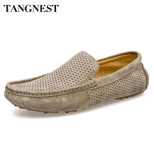 c57dd4b4f2a18 Tangnest New Cut-out Men Loafers Casual Breathable Summer Shoes Chic  Genuine Leather Slip On