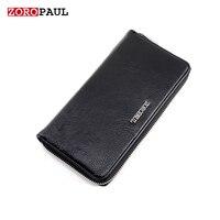 ZOROPAUL High Quality Long Slim Men S Black Long Design Multifunctional Leather Purses Designer Brand Wallet