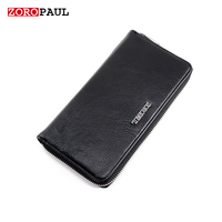 ZOROPAUL High Quality Long Slim Men S Black Long Design Multifunctional Leather Purses Designer Brand Wallet