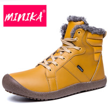 MINIKA Plus Size Winter Warm Snow Boots Casual Platform Ankle Waterproof Fur Plush Shoes Woman Lace Up Breathable Botas Muje