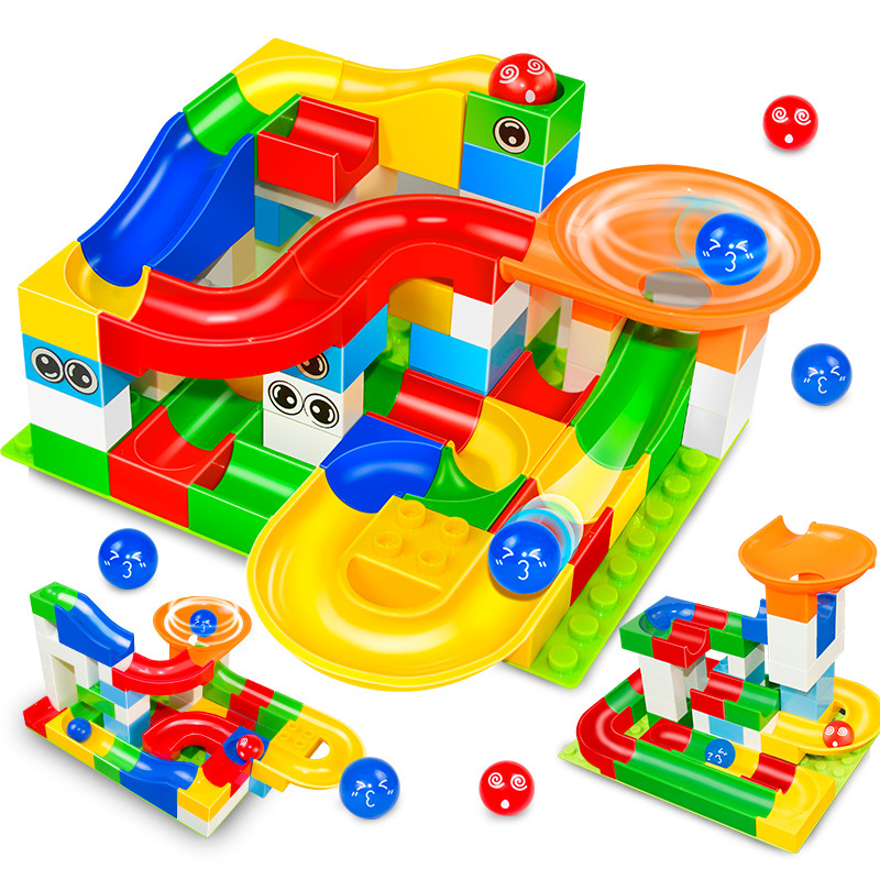Mármore Corrida Corrida Bola Labirinto Pista Conjuntos de Blocos de Construção Duplo Funil LegoINGLs Slide Grande Tamanho de Tijolos Brinquedos Educativos para Crianças