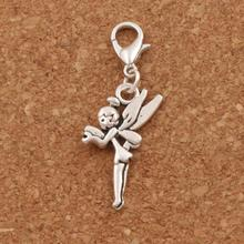 Flying Tinker Bell Fairy Lobster Claw Clasp Charm Beads 48.8x14.7mm 100PCS Tibetan silver Jewelry DIY C130 triangular arrow lobster claw clasp charm beads 24 4x4 6mm 200pcs tibetan silver jewelry diy c462