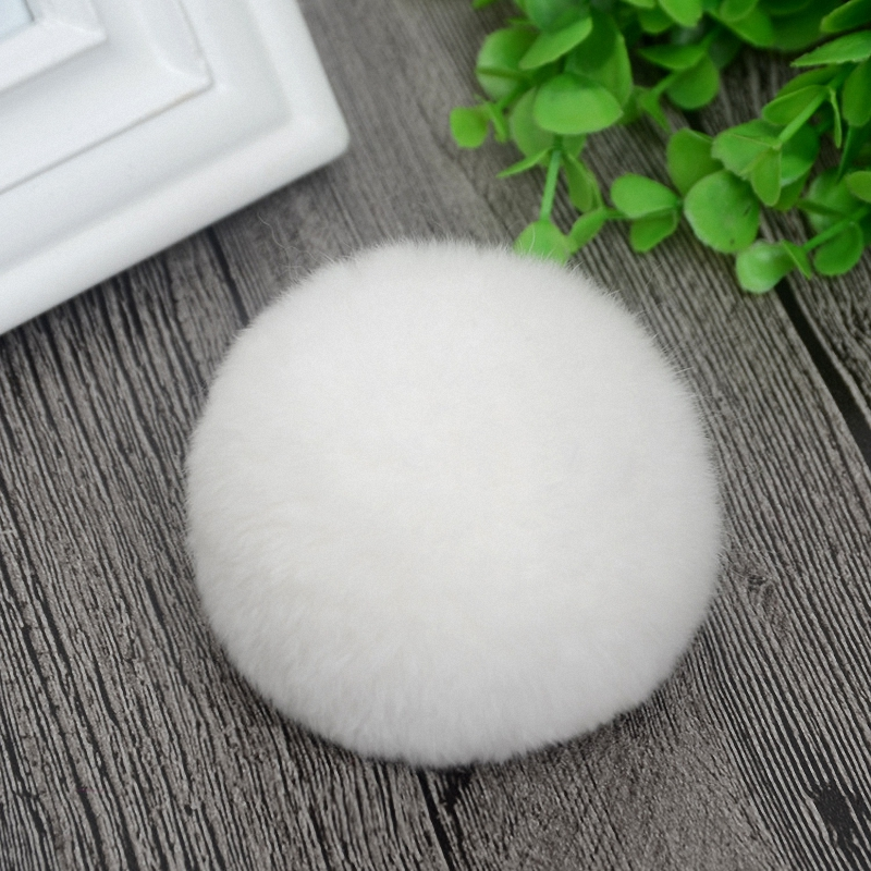 8cm Nature Genuine Rex Rabbit Fur Ball Pom Pom Fluffy DIY Winter Hat Skullies Beanies Knitted Cap Pompoms TKF001-white