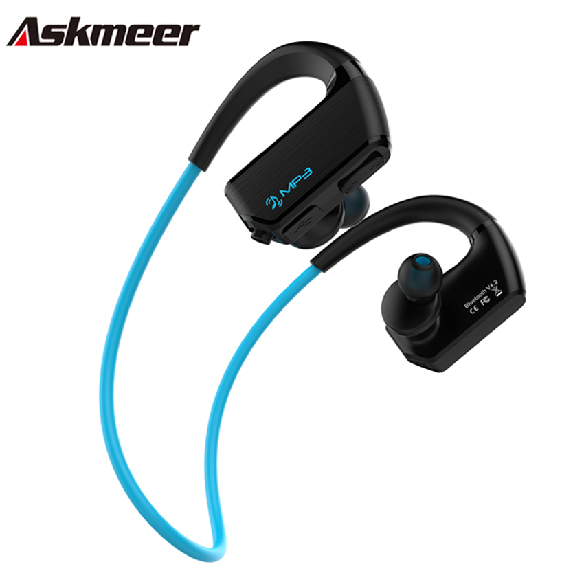 Askmeer IPX4 Waterproof Mp3 Music Player 8GB+Wireless Bluetooth Sport Earphone Earbuds Headset with Mic Handsfree for Phone askmeer 8gb mp3 music player headsets wireless bluetooth sport earphone sweatproof earbuds headset with microphone handsfree