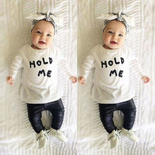HOLD ME T-Shirt +Leather Pants Outfit Sets 3-6M