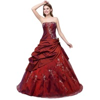In Stock New Beaded Appliques Pleated Taffeta And Tulle Burgundy Quinceanera Dresses Sweet 16 Dresses Size