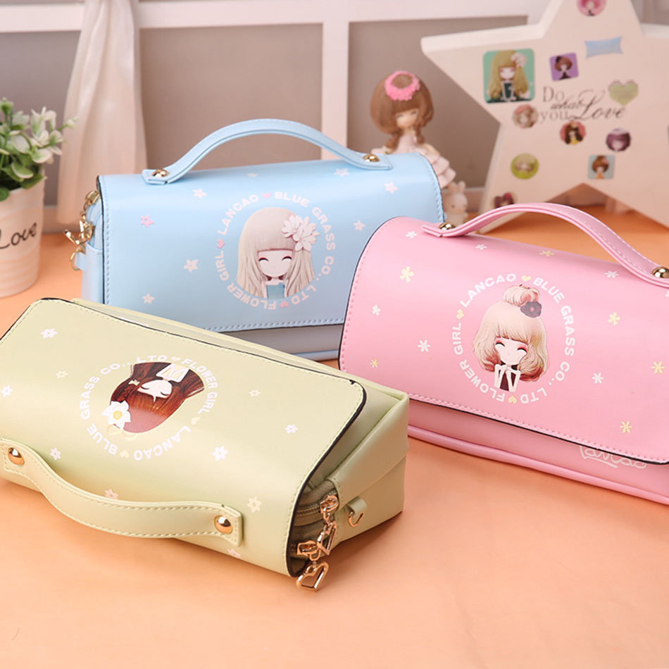 Kawaii school pencil case 6 Colors PU Leather Portable Pencil Bag Case For Girls Gift Stationery Office School Supplies kawaii cat school pencil bags cute waterproof pencil case for girls kids gift korean stationery office school supplies