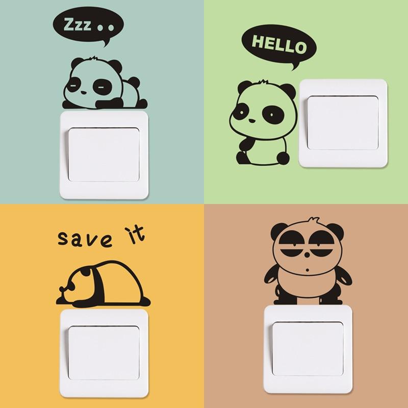Funny Panda Removable Art Vinyl Switch Sticker Home Wall Decor ...