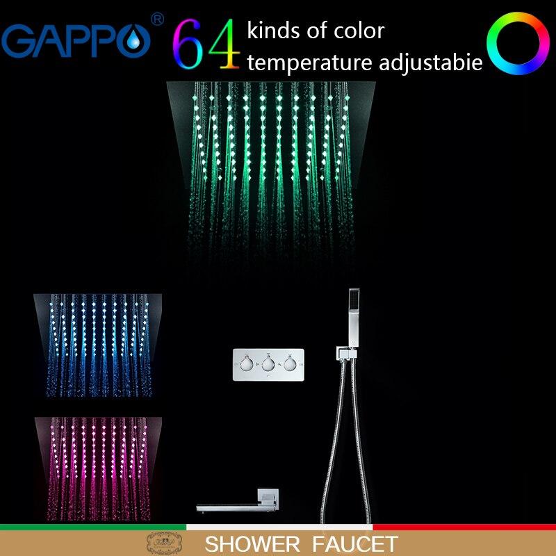 GAPPO Shower Faucets waterfall bathroom mixer faucet LED rainfall wall mounted rain shower set shower faucet