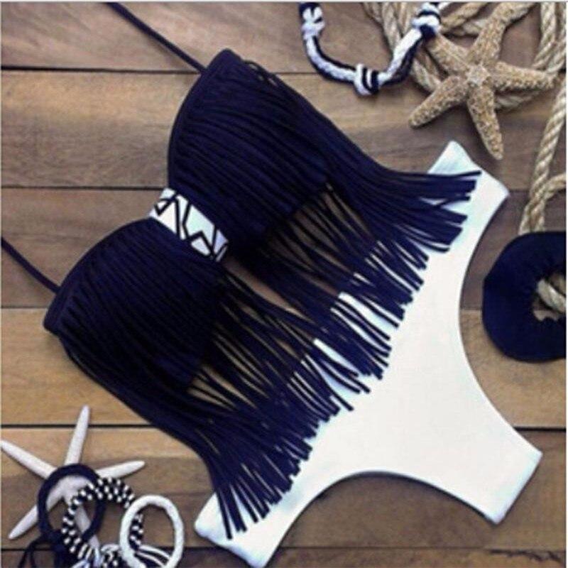 Biquini Swimwear Sexy Women Tassel Swimsuit Push Up Bikinis Fringe Beach Stroje Damskie Monokini Mujer Trikini Badpak Maillot