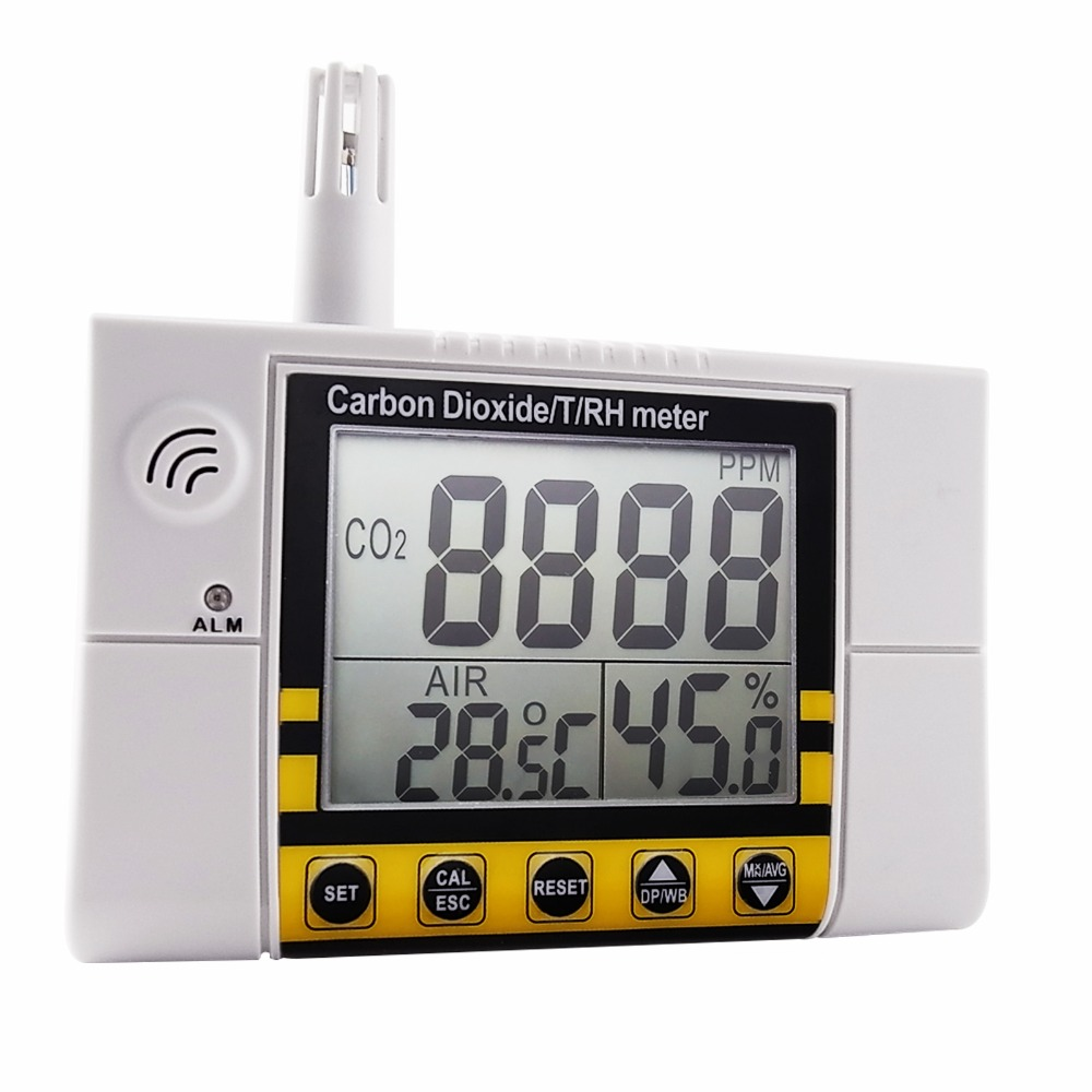 Digital Wall Mount Indoor Air Quality  Temperature RH Carbon Dioxide CO2 Meter Sensor Detector 0~2000ppm Range digital indoor air quality carbon dioxide meter temperature rh humidity twa stel display 99 points made in taiwan co2 monitor