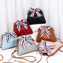Single shoulder bag female bucket type with silk scarf DrawString purse mobile phone