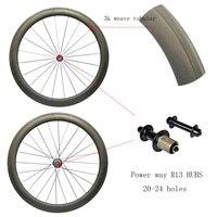 Road Carbon wheels Tubular 50mm with power wayR13/R36 hubs carbon rim 3K/1K weave Road Bike Super Light Racing Wheelset