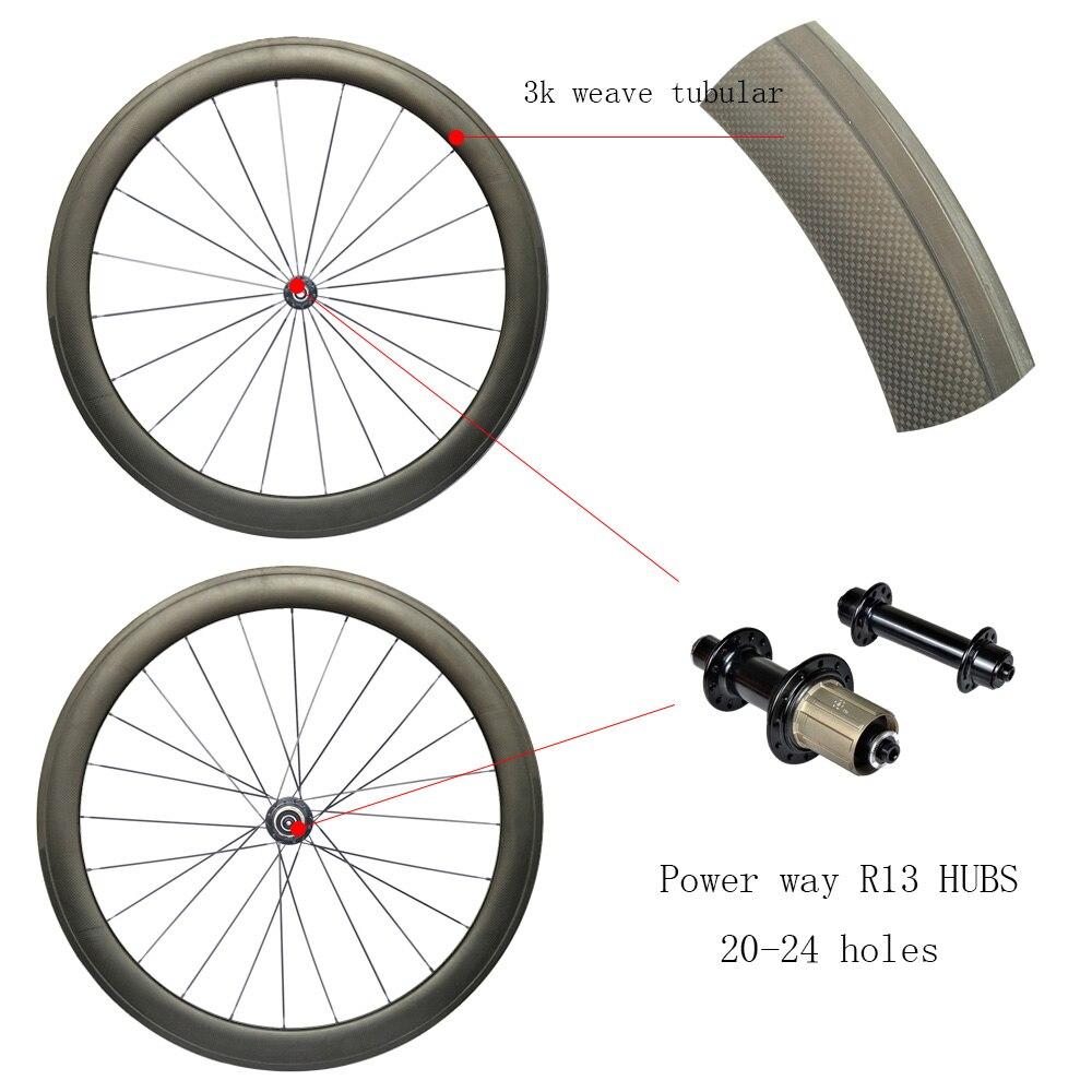 Roues en carbone de route tubulaires 50mm avec moyeux de puissance wayR13/R36 jante en carbone 3 K/1 K roues de course Super légères