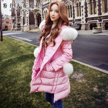 dabuwawa down jacket 2016 girls's new korean style free lengthy hooded heat nature fox fur collar coat pink doll