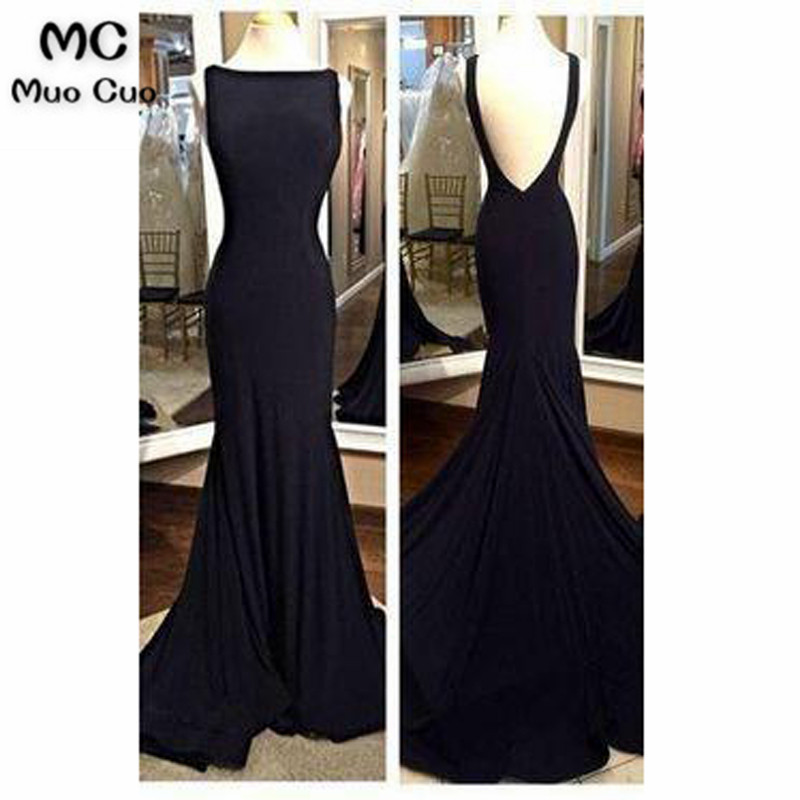 2018 Elegant Mermaid Prom   Dresses   Tank Sleeveless Chiffon Backless Black Formal Women's   Evening     Dresses   Mother   Dress