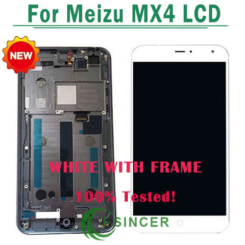 1/PCS White LCD screen display Touch digitizer glass with Frame assembly For MEIZU MX4 MX4G Free Shipping