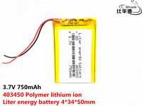 403450 3.7V 750mah Lithium polymer battery With Protection Board For GPS MP3 MP4 MP5 Portable DVD Speaker  Electric toy
