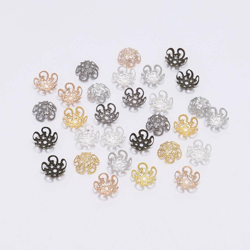 100pcs 8mm 10mm Shiny Vintage Filigree Metal Hollow Flower Spacer Beads End Caps Charms Pendant For Diy Jewelry Making Findings