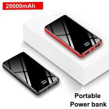 Slim 20000 mAh Power Bank Portable Charger External Battery Powerbank 20000mah Mirror Screen Poverbank Fast Charging For Phone цена и фото