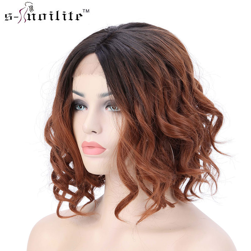 "SNOILITE 16"" Synthetic Women Ombre Short BoB Wavy Lace Front Wig Hair Full Wigs with Natural Hairline for Party Cosplay Wear"