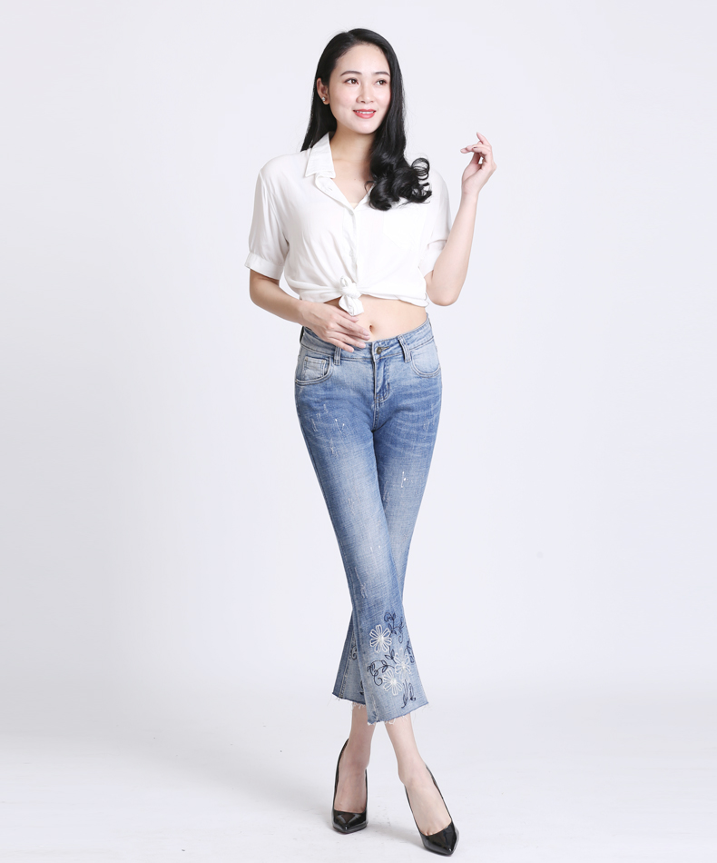 KSTUN Women Jeans with Emboridered Retro Blue Stretch Flare Pants Boot Cut High Waist Gloria Jeans Vintage Plus Size Femme Mujer 14