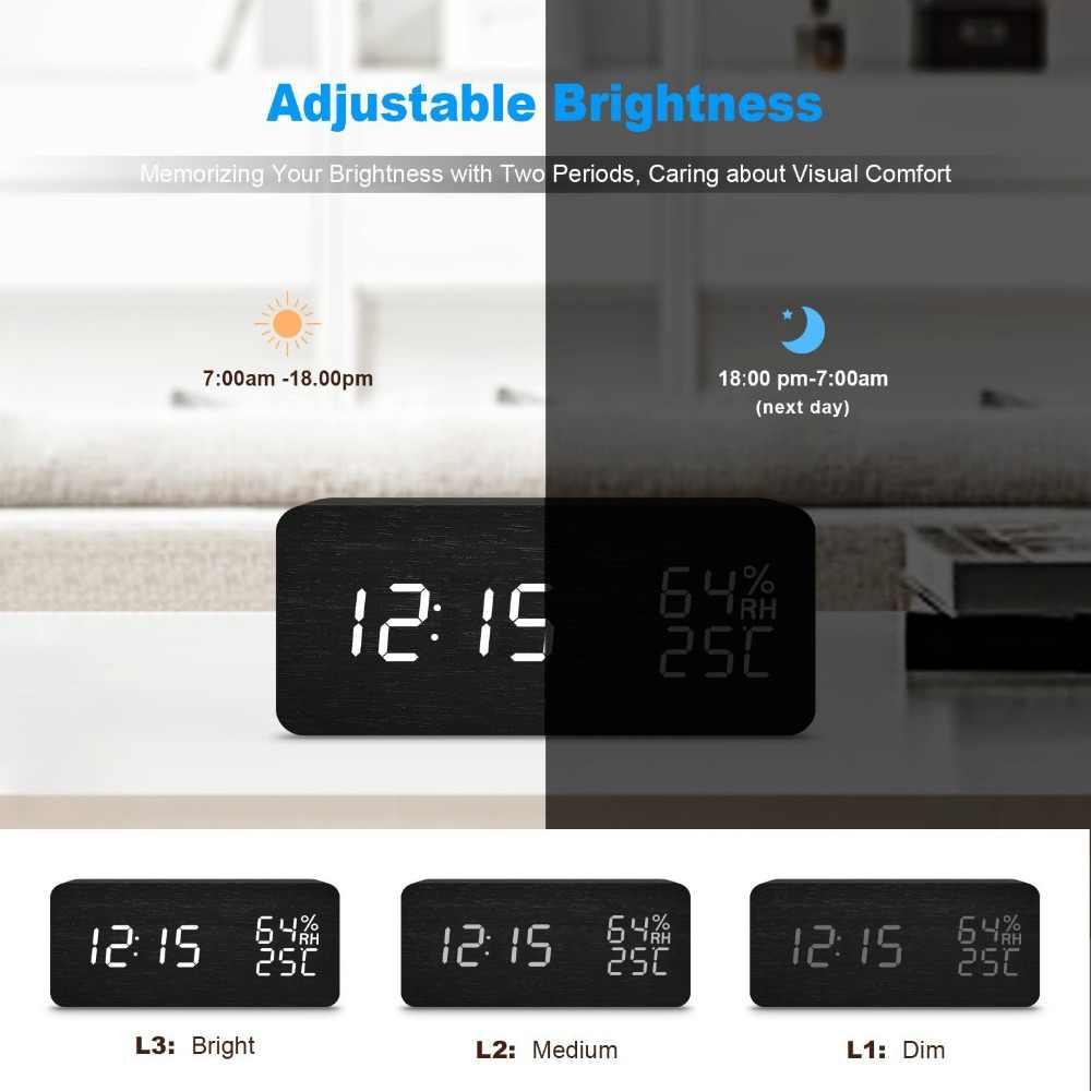 JINSUN LED Hiện Đại Đồng Hồ Báo Thức Despertador Nhiệt Độ Độ Ẩm Điện Tử Máy Tính Để Bàn Kỹ Thuật Số Đồng Hồ Để Bàn