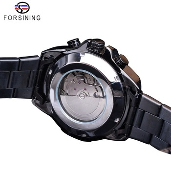 Forsining Three Dial Calendar Stainless Steel Men Mechanical Automatic Wrist Watches Top Brand Luxury Military Sport Male Clock 4