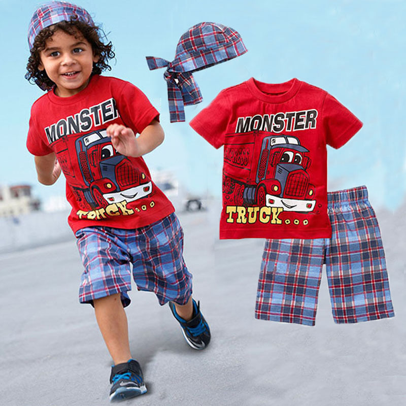 Clothing sets 2016 New boys set boy shorts Cartoon suits summer short sleeve T-shirt + plaid pants + hat 3 pieces kids clothes