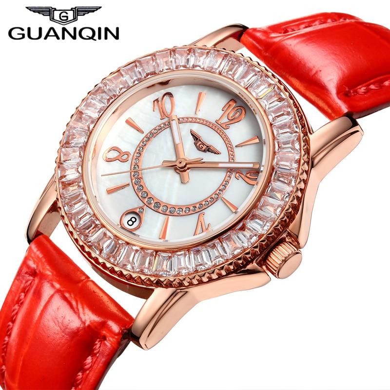 GUANQIN 2016 New Watches Women Fashion Quartz Watch With Luxury Diamond Case Waterproof Red Leather Strap relogio feminino стоимость