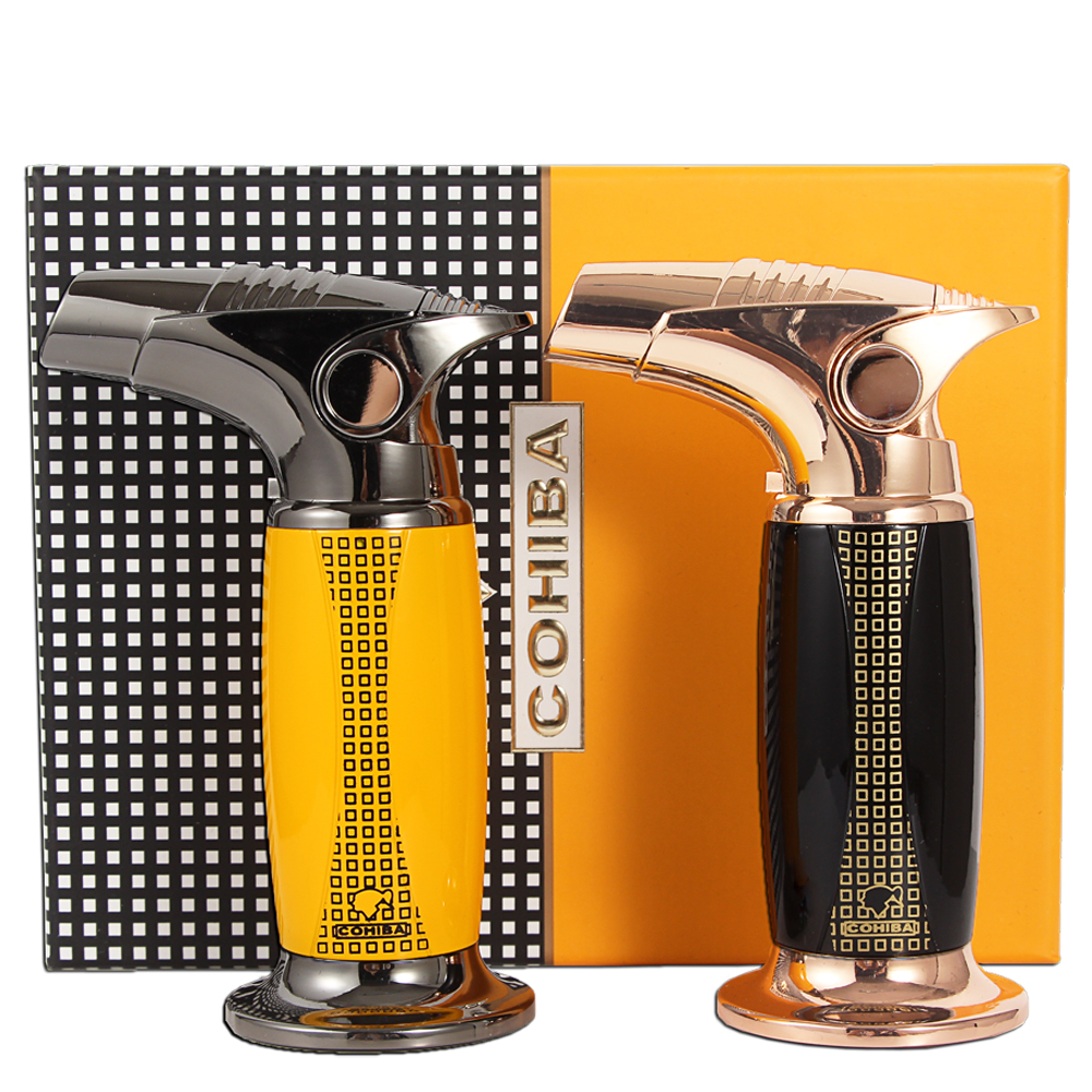COHIBA Luxury Table Torch Lighters Windproof Butane Gas Jet Red Flame Fire Cigar Cigarette Lighter With Gift Box