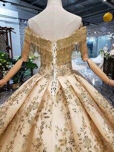 Image 5 - 100% prawdziwe zdjęcia luksusowe suknie ślubne Ball suknia Golded puszyste cekiny Tulle kryształ frezowanie 2020 nowy Custom Made SK02