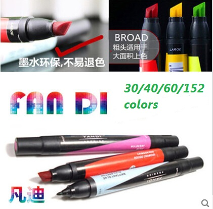 Free shipping Artist Double Headed Art Markers Pens six Generation Oily Alcoholic 30/40/60/152 Colors Set Marker for Drawing bunchems тематический набор рыбка светится в темноте bunchems