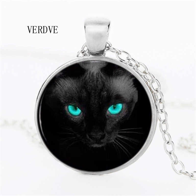 VERDVE 3 Color Blue Eyes Black Cat Necklace Pendant Crystal Dome Women's Jewelry Men's Necklaces Hot Sale Gifts