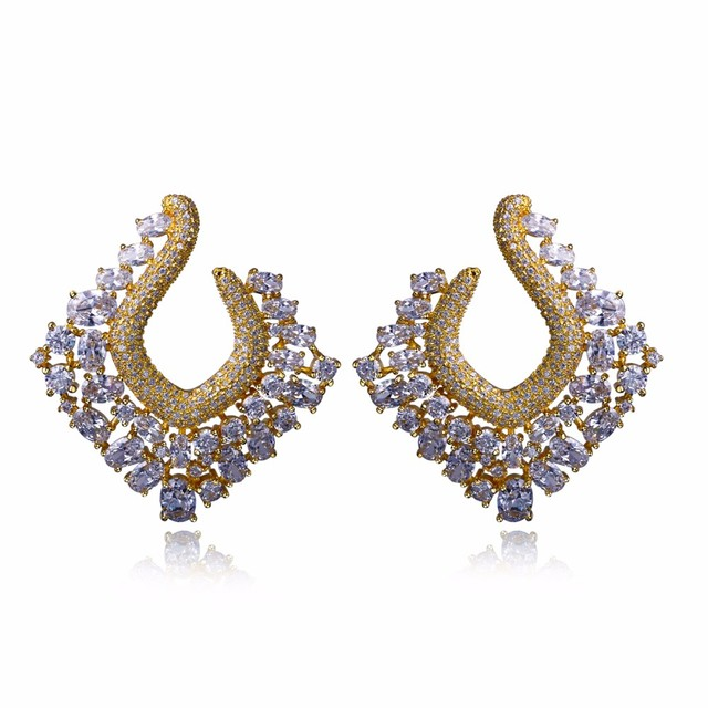 Geometric Square Pattern Gold Plating Hollow Out Fashion Earrings with CZ Diamond