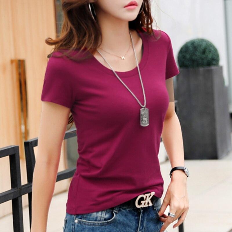 2019 Summer Women T Shirt Cotton Solid White Tshirt Camiseta Femenina Short Sleeve Casual Tops Female Slim Basic Tee Shirt T27