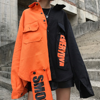 Cheerart Harajuku Denim Jacket Women Patch Letter Print Jeans Jacket Coat Woman Color Block Loose Streetwear Overcoat