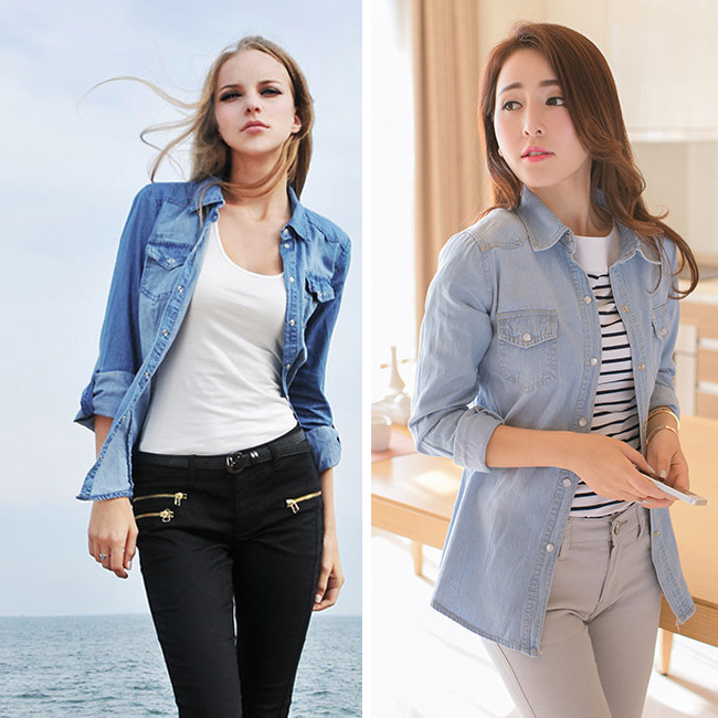 2015 New Women Fashion Style Lady Girl Retro Vintage Long Sleeve Blue Autumn Jean Denim Shirt