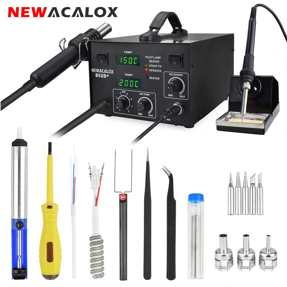 NEWACALOX 600W EU 220V Soldering Station Double LED Digital Adjust 2 In 1 SMD Hot Air