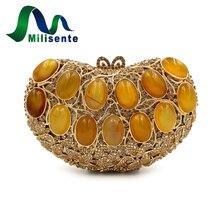 Milisente Dame Designer Achat Kristall Taschen Herzform Kleine Diamant Erfasst Hochzeit Geldbörse Schulter Gold