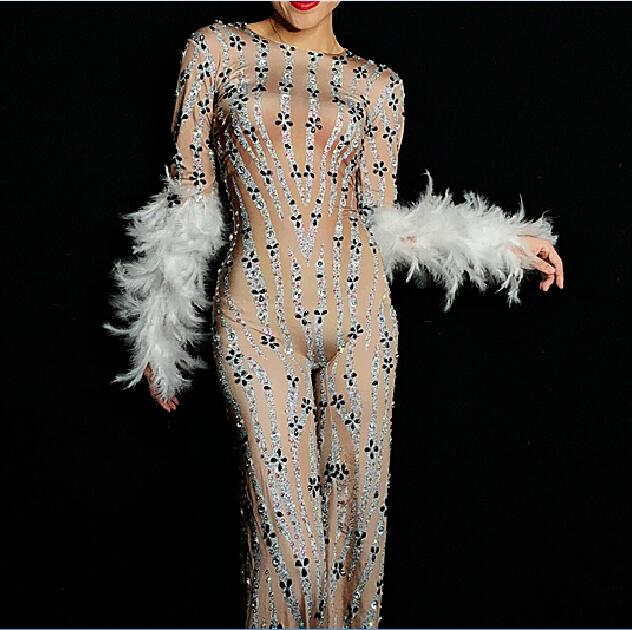 Flashing Rhinestones White Feather Spandex Jumpsuit Birthday Party Outfit Dancer Singer Bodysuit Big Leggings Evening Stage