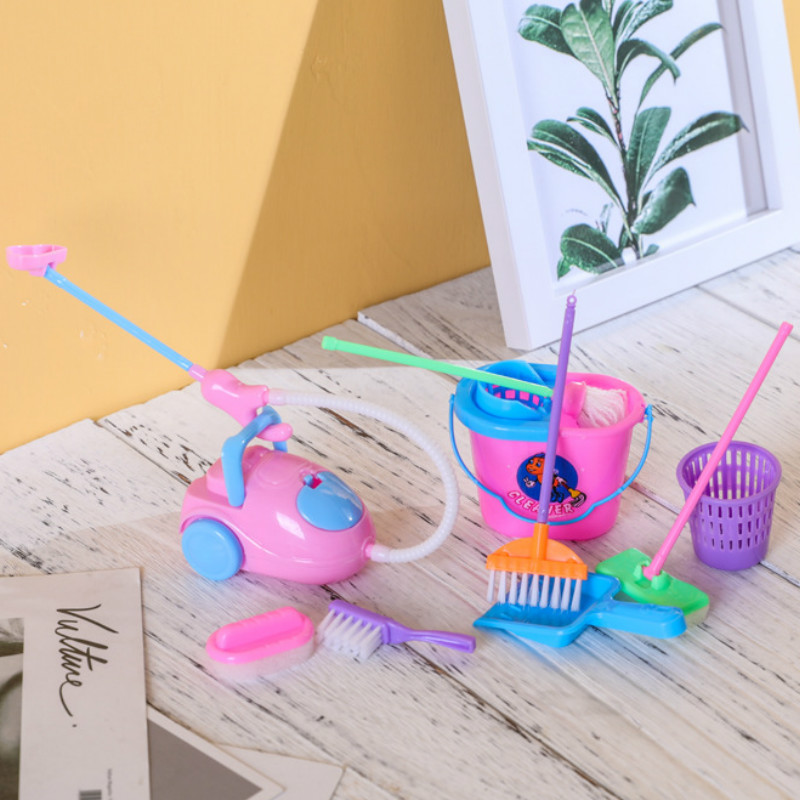 9Pcs/Set Classic Childhood Fun Novel Play House Toy Cleaning Kit Pretend Play Toys For Kids Popular Housekeeping Toys